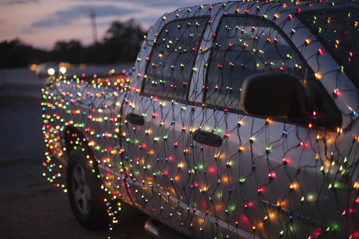 Truck covered in lights for christmas, Austin, Texas, USA
