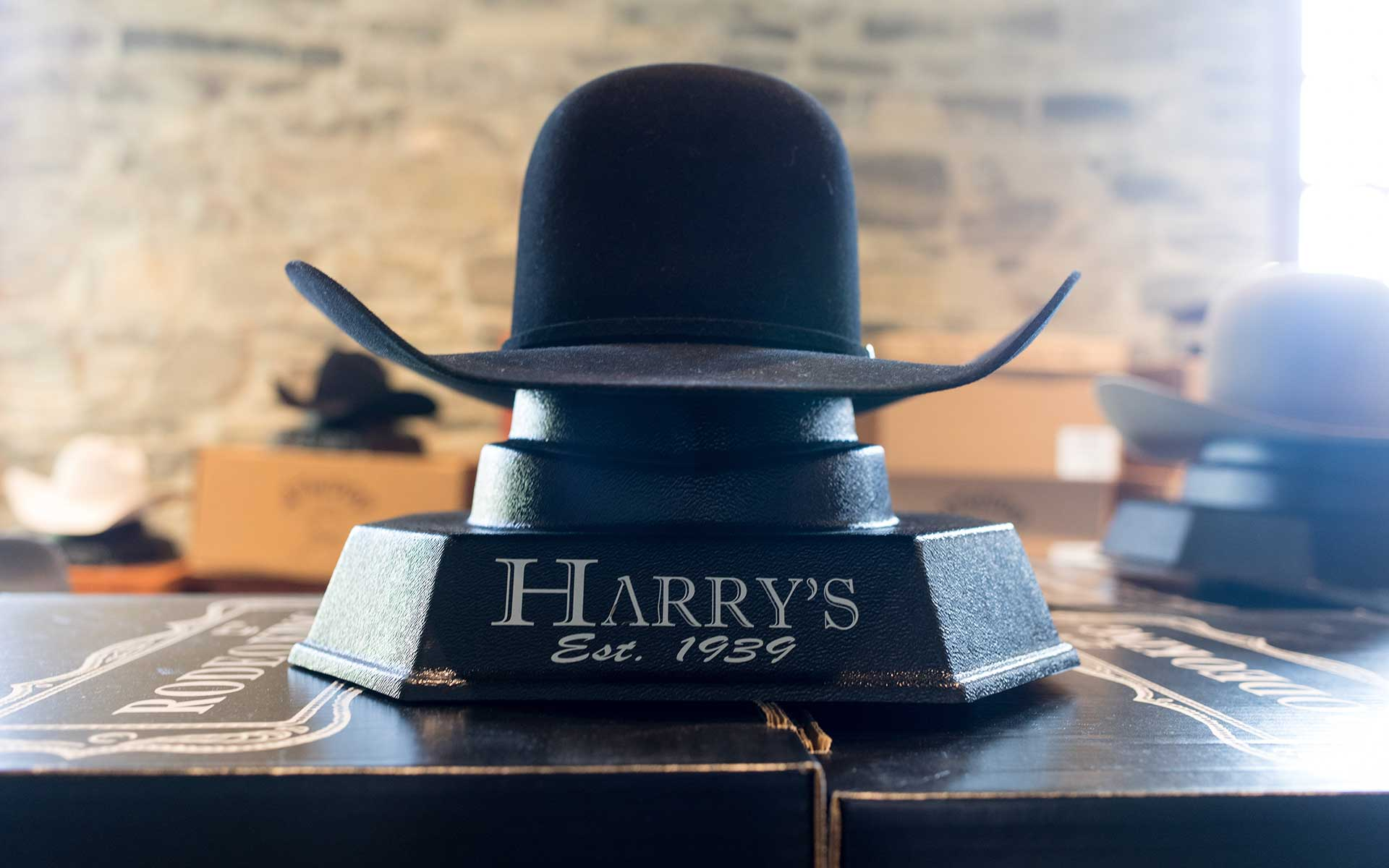 Felt hat in Harry's Boots store
